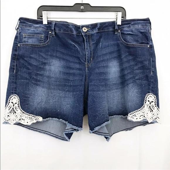 Revolution By Ricki's Embroidered Denim Shorts